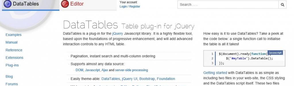 Implementar JQuery DataTable procesamiento del lado del servidor con
